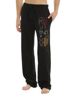 "No plans? No problem! Sounds like you've got a date with your couch and TV. Before the binge watching begins you're gonna need some couch potato attire. These black comfy pajama pants are perfect! They've got outlines of Bob, Linda, Tina, Louise and Gene Belcher and the <i>Bob's Burgers</i> logo. Elastic drawstring waist, single button fly and hip pockets.<br><ul><li style=""LIST-STYLE-POSITION: outside !important; LIST-STYLE-TYPE: disc..."