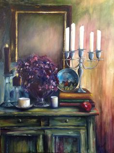 Table of Treasures. Original oil painting by Georgina Michalandos.