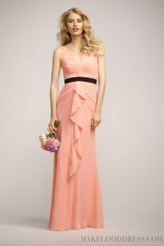 2014 Attractive Sashes / Ribbons V-neck Zip-up Floor-length Bridesmaid Dresses