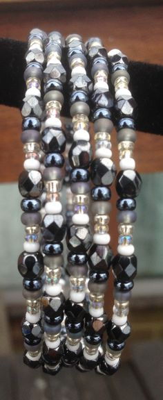 Inspired by Pinterest - seed bead memory wire bracelet. Beads from Beadworks.