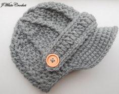 Dark grey Newborn baby hat ,Crochet newsboy hat , crochet baby boy hat, crochet girl hat, newborn baby hat, crochet baby hat