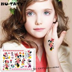 NU-TATY Cute Minnie Child Child Temporary Tattoo Body Art Flash Tattoo Stickers 17*10cm Waterproof Tato Car Styling Wall Sticker