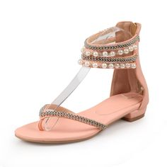"""Summer is coming, want to find one charming summer sandals? This rhinestone flat flops maybe good choice. With beading wrap on ankle will make you shinning and eye-catching.Gender: Women'sCatego.."