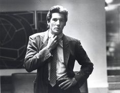 Richard Gere in American Gigolo confronts an existential uncertainty. Take it off or put it on. Here it's the tie. The Suited Hero must make correct choices. Making the right choice, of course, designates him a hero or just the average Joe. http://www.amazon.com/Terminal-Life-Suited-Hero-Novel/dp/1608091201/ref=sr_1_1?s=books&ie=UTF8&qid=1384357675&sr=1-1&keywords=terminal+life+richard+torregrossa