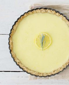 // lemon tart with rosemary crust