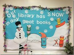 Fun winter themed library or reading center bulletin board idea! Learn how to make it and find more fun bulletin board ideas here --> http://www.mpmschoolsupplies.com/ideas/6907/our-library-has-snow-many-great-books-bulletin-board/