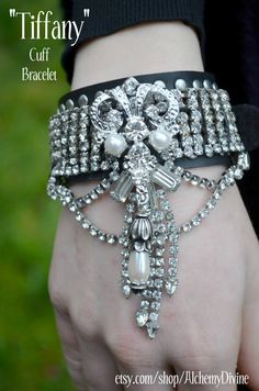 Tiffany Cuff bracelet Leather Studs Pearls by AlchemyDivine, $219.00