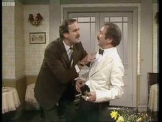 I Know Nothing! - John Cleese as Basil Fawlty with the hapless Spanish waiter from Barcelona, Manuel (Andrew Sachs). BBC Fawlty Towers 1975|1979