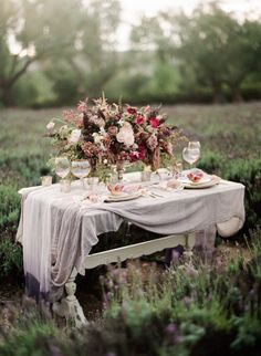 Pretty fall table inspiration: http://www.stylemepretty.com/california-weddings/los-olivos/2015/09/24/romantic-lavender-field-inspiration-session/ | Photography: Jennifer Kulakowski - http://jenniferkulakowski.com/