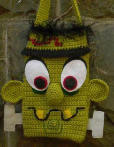 Frankenstein crocheted purse or bag. $50.00, via Etsy.