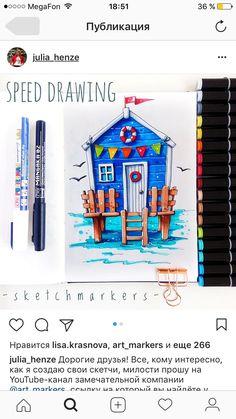 Copic Marker Drawings, Sketch Markers, Doodle Drawings, Copic Markers, Easy Drawings, Travel Sketchbook, Arte Sketchbook, Brush Pen Art, Copic Art