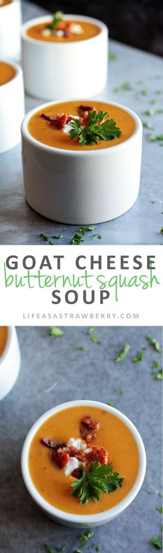 Goat Cheese Butternut Squash Soup | This easy, creamy butternut squash soup is perfect for chilly evenings! A simple dinner recipe with tons of flavor. Topped with tangy goat cheese and crispy bacon.