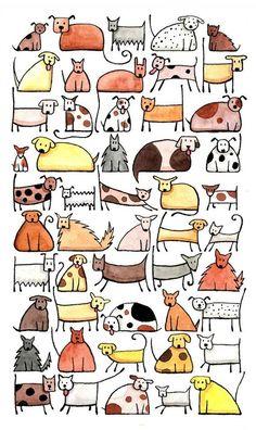 50 Hunde sind verspielt, freundlich, fröhlich, eure Welt zu erhellen. Dies ist ein Giclée Kunstdruck mit Archivierungsqualität Tinten auf ein A4 Größe säurefreies Papier reproduziert. Das Bild ist ca. 140 x 240 mm auf einem A4-Blatt (300mm hoch x 210mm breit). Der Druck wurde