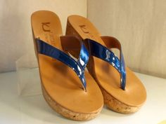 K.Jaques St Tropez Diorite Wedge Thong Blue Patent Leather 37 EUC #KJaques…