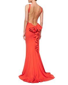 Sleeveless Ruffle-Back Mermaid Dress