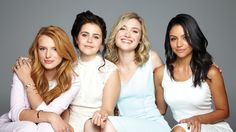 The ladies above, including Mae Whitman (age 26), Bianca Santos (age 24) and Skyler Samuels (age 20) are starring in the upcoming teen movie The Duff. Description from actualteenadultteen.tumblr.com. I searched for this on bing.com/images