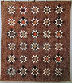 Classic quilt style from the Brown Decades---the and Amish Quilts, Old Quilts, Antique Quilts, Star Quilts, Scrappy Quilts, Vintage Quilts, Vintage Fabrics, Civil War Quilts, Miniature Quilts