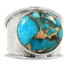 Copper Blue Arizona Turquoise 925 Sterling Silver Ring Jewelry s.8 SR189151 | eBay
