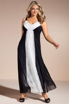 Plus Size Women's Fashion - Sara Lace Panel Maxi Dress by EziBuy Australia