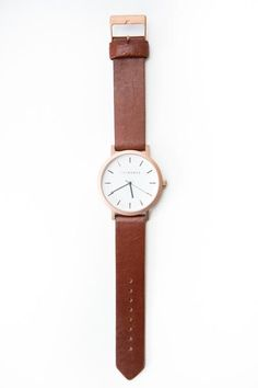 The Horse Leather Watch - Rosegold Walnut Leather