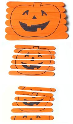 Homemade halloween puzzle - try cutting and pasting images onto the popsicle sticks for a more interesting composition. Halloween Tags, Theme Halloween, Holidays Halloween, Halloween Crafts, Diy Halloween Favors, Preschool Halloween Party, Halloween Puzzles, Halloween Games For Kids, Fall Crafts