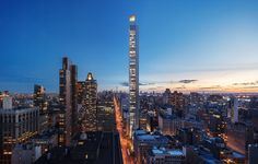 Moscow-based studio Meganom has been tapped to design its first US project – a slender, residential skyscraper planned for Midtown Manhattan Skinny supertall tower by Meganom unveiled for New York New York Architecture, Russian Architecture, Mix Use Building, Building Design, Plan Urbanistico, Nomad New York, Free Floor Plans, Berenice Abbott, Manhattan New York