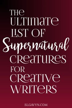 you looking for creatures who haven't already been written about a million times? This list contains creatures, both old and new, who are lesser known and not overdone. Perfect for your creative writing. Creative Writing Tips, Book Writing Tips, Writing Promps, Writing Characters, Fiction Writing, Writing Resources, Writing Help, Writing Ideas, Creative Writing Inspiration