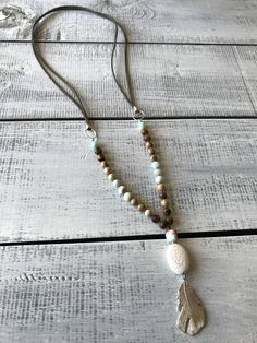 Gemstone Necklace, Tassel Necklace, Diffuser Necklace, Stone Pendants, Natural Gemstones, Barefoot, Jasper, Feather, Boho