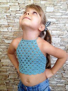Crochet toddler baby top Blue open back childrens top Summer beach clothing for kids Boho festival halter top Crochet top Girls outfit Gift Little Girl Models, Little Girl Outfits, Cute Girl Outfits, Preteen Girls Fashion, Young Girl Fashion, Kids Fashion, Knit Baby Dress, Crochet Baby Clothes, Beautiful Little Girls