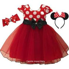Vestido Festa Infantil Minnie Vermelha Com Bolero E 2 Tiaras - R$ 119,90 em Mercado Livre