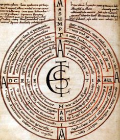 The Abingdon Labyrinth is found in an early 11th century copy of Boëthius, produced at Abingdon Abbey. The Illustration of a six-path, seven-wall labyrinth contains a poem, Assumpta est Maria ad Caelestia, Alleluia! (Mary is assumed into Heaven, Alleluia!), which can be read in either of two ways: by following the path of the labyrinth, which gives one arrangement of lines, or according to the circles, which gives a different combination.