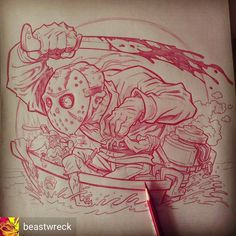 @beastwreck and I are cooking up something special for ya'll! Check out his tight pencils over the sketch I sent him! Killer as usual. Keep your eyes on our pages for future updates. #fridaythe13th #ratfink