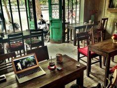 Cong Caphe Cafe - Hanoi (Vietnamese iced coffee and coconut frozen yoghurt)
