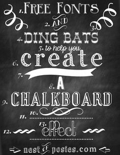 Nest of Posies: Free Chalkboard Fonts & Dingbats - Photoshop NOT required! I use photoshop for mine, but this is an awesome tutorial for the non-photoshoppers! Fancy Fonts, Cool Fonts, Awesome Fonts, Creative Fonts, Gratis Fonts, Typographie Fonts, Chalkboard Fonts, Chalkboard Ideas, Chalkboard Wedding