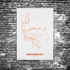 New York City C3 - Acrylic Glass Art Subway Maps (Acrylglas, Underground)