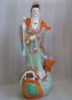 QUAN KWAN YIN FAMILLE ROSE MILLE FLEUR GUANYIN GODDESS OF MERCY ON A DRAGON FISH #SignedUnknown