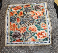 Embroidered Silk Panel Chinese Handmade Vintage by ElegantArtifacts on Etsy