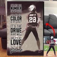 *CUSTOM SOFTBALL CANVAS - IT'S MY LOVE FOR THE GAME Baseball Pants, Baseball Cap, Cards, Sports, Hs Sports, Excercise, Baseball Hat, Exercise, Sport