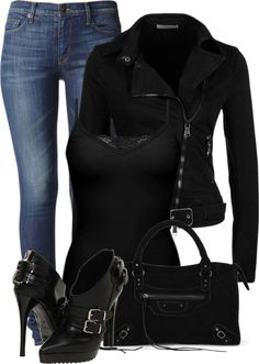 """Love it, especially the bags & boots:  Burberry Biker Ankle Boot ($595) Vjstyle Black Suede Motor Bag ($51)  (via """"Black and Jeans"""" by fashion-766 on Polyvore)"""