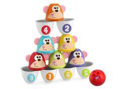 Un jeu de #bowling rigolo pour faire des strikes ou construire un chamboulle tout de 12 pièces colorées ! #boule #pleinair #eveil