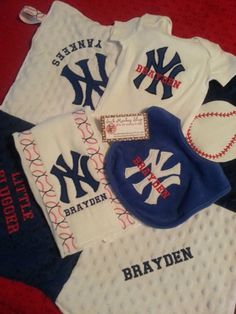 New baby crib bedding set in new york ny yankees fabric yankees new york yankees security blanket bib burp cloth onesie set find this pin and more on personalized baby gifts negle Images