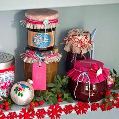 Jam jars with vintage fabric