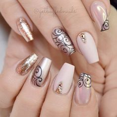 Astonishing Nail Art Designs From 21 Cool Coffin Shape Nails Designs To Copy Simple Nail Designs, Nail Art Designs, Nails Design, Diy Nails, Glitter Nails, Gold Glitter, Acrylic Nail Shapes, Acrylic Nails, Nagel Hacks