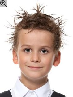 Hair with gel styling for little boys. A fashion forward look with spikes and fun messy styling.