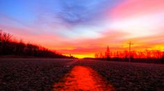 December's Painted Sunrise over The Dawson Trail in La Coulee, Manitoba