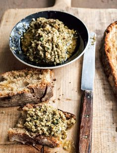 Green olive, basil, and almond tapenade