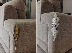 Use a lace doily to mend a broken couch. Great idea!
