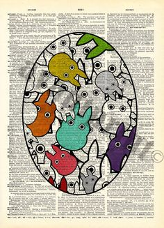 Tons of Tiny Totoro's Original Colorful Collage by PrudencePrint