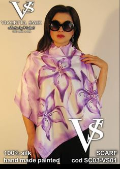 "Scarf SC03-VS01 - 100% Silk - Hand Painted - Limited Edition Series (maximum 100 Pieces for model) - ""Violetta Smik"" is produced by Sephirot Productions of Milan under the brand ""4SuckerS"" - 100% MADE IN ITALY - 100% NATURAL FIBRES AND ECOLOGICAL - 100% HAND PAINTED - 100% HAND EMBROIDERED - Try it to believe! Authorized seller: Showroom SD Multibrand Milano street Visconti di Modrone 30. www.violettasmik.com"