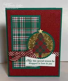 The Stampin' Bunny: Perfectly Plaid Pine Tree Christmas Cards Shaded Spruce Plaid and Cherry Cobbler striped ribbon make a festive card! Christmas Cards 2018, Homemade Christmas Cards, Stampin Up Christmas, Xmas Cards, Homemade Cards, Handmade Christmas, Christmas 2019, Drops Design, Plaid Christmas